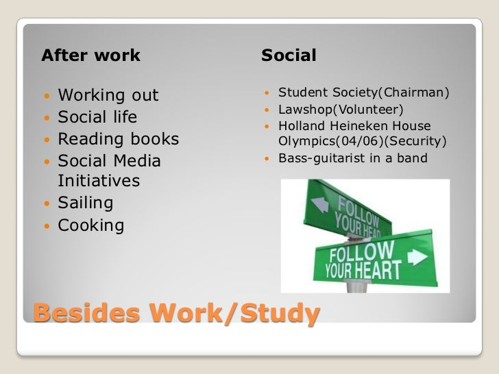 After work          Social   Working out      Student Society(Chairman)                     Lawshop(Volunteer)   Socia...