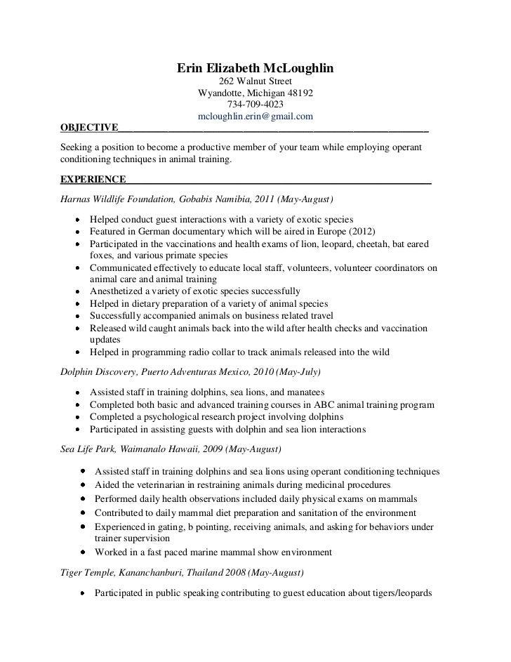 dog trainer resume