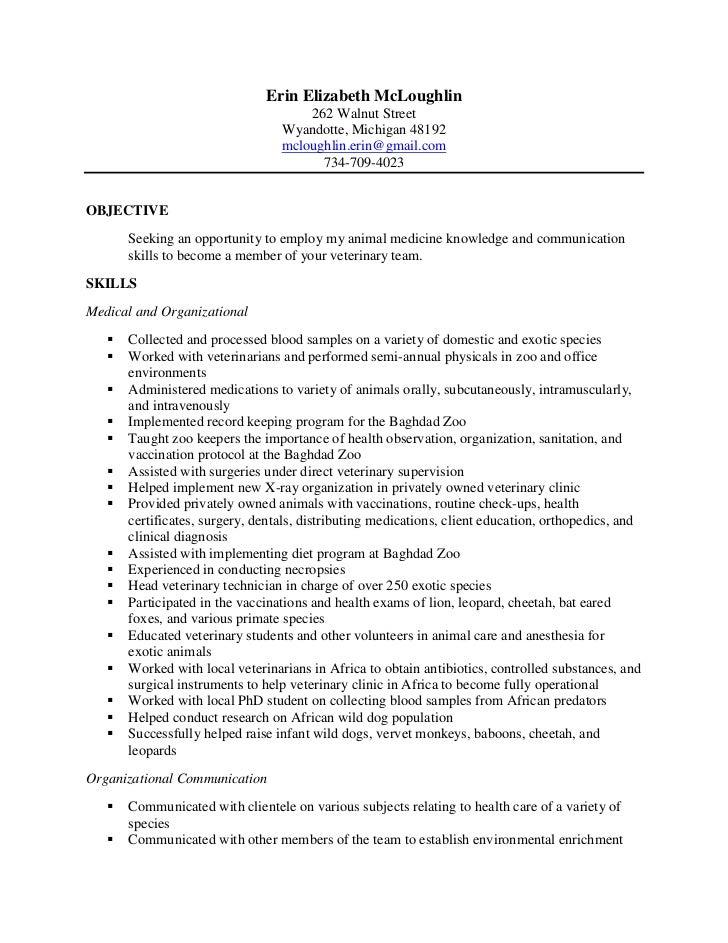 Erin Final Vet Tech Resume. Erin Elizabeth McLoughlin ...