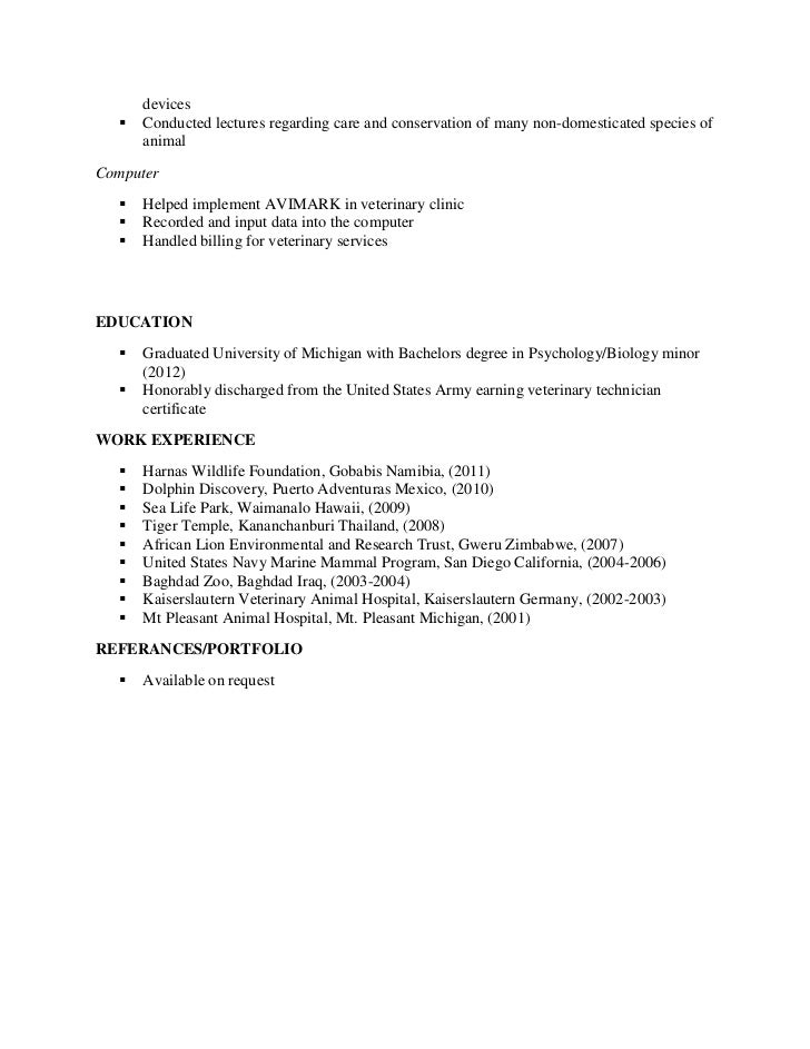 vet resume resume cv cover letter - Veterinary Assistant Resume