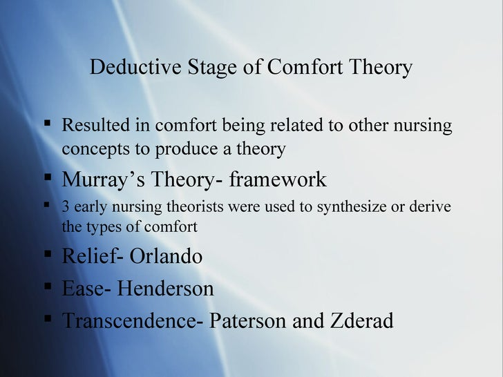 comfort theory Katherine kolcaba's comfort theory annette hall st joseph's college of maine abstract katherine kolcaba's comfort theory fits best with my philosophy of nursing and my current work environment.