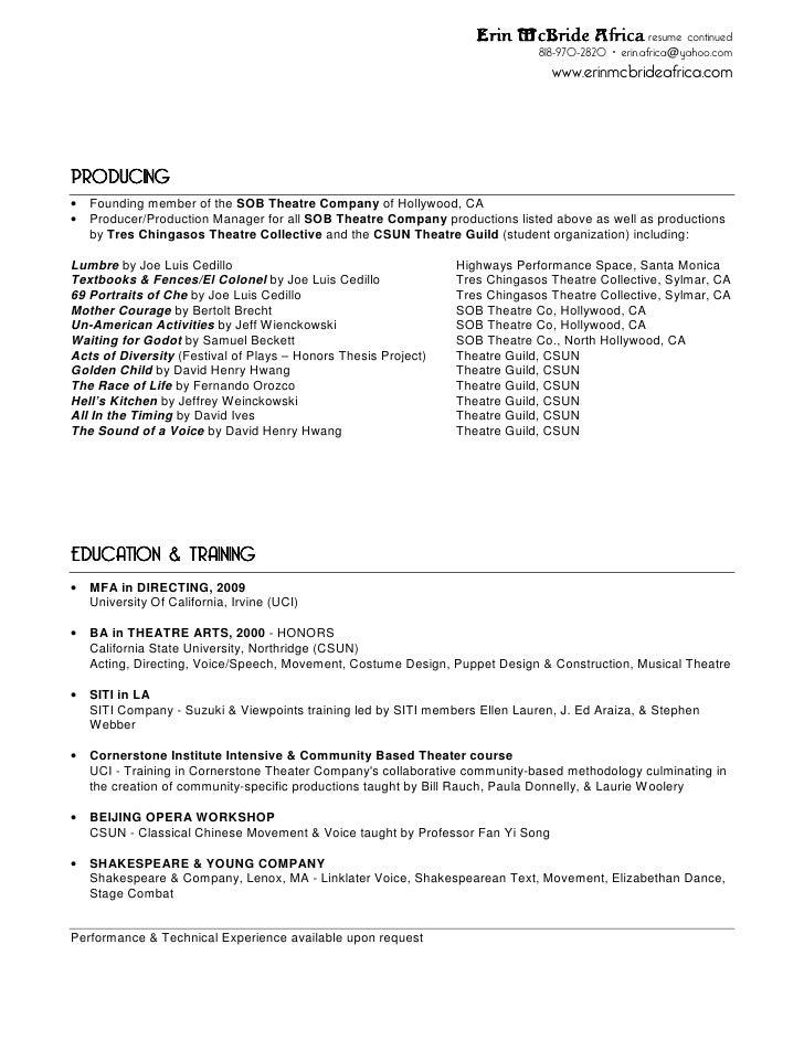 erin mc bride africa theatre resume