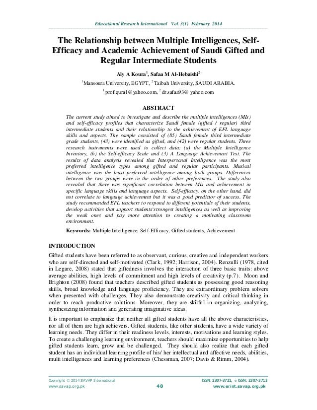 multiple intelligence research paper