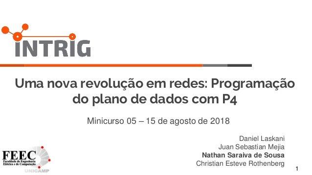 1 Uma nova revolução em redes: Programação do plano de dados com P4 Minicurso 05 – 15 de agosto de 2018 Daniel Laskani Jua...