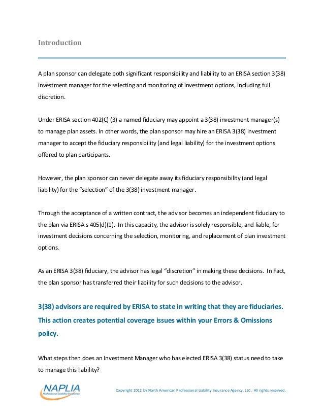 Erisa 3(38) fiduciary status managing liability