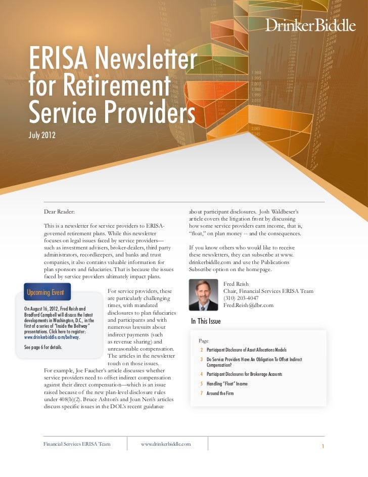 ERISA Newsletter for Retirement Service Providers  July 2012         Dear Reader:                                         ...
