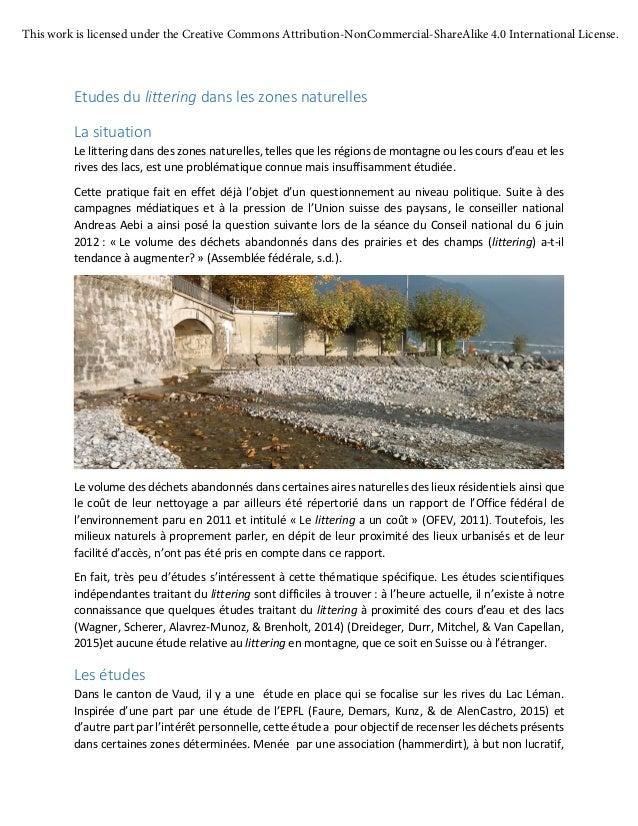 Etudes du littering dans les zones naturelles La situation Le littering dans des zones naturelles, telles que les régions ...