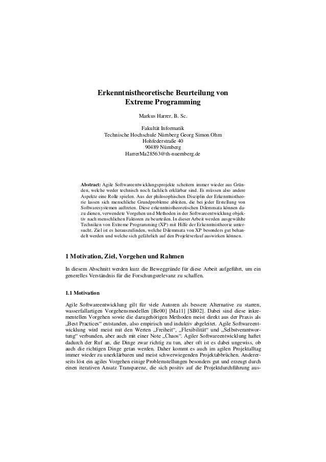 Erkenntnistheoretische Beurteilung von Extreme Programming Markus Harrer, B. Sc. Fakultät Informatik Technische Hochschule...