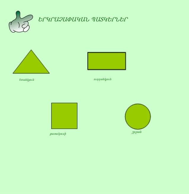 ԵՐԿՐԱՉԱՓԱԿԱՆ ՊԱՏԿԵՐՆԵՐ Եռանկյուն շրջան ուղղանկյուն քառակուսի