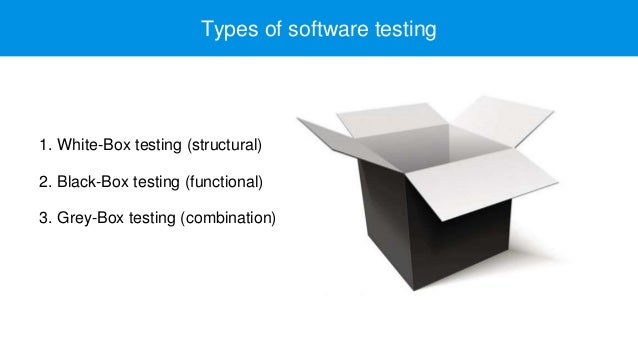 1. White-Box testing (structural) 2. Black-Box testing (functional) 3. Grey-Box testing (combination) Types of software te...