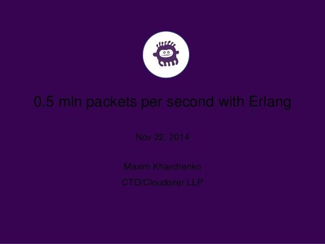 0.5 mln packets per second with Erlang  Nov 22, 2014  Maxim Kharchenko  CTO/Cloudozer LLP