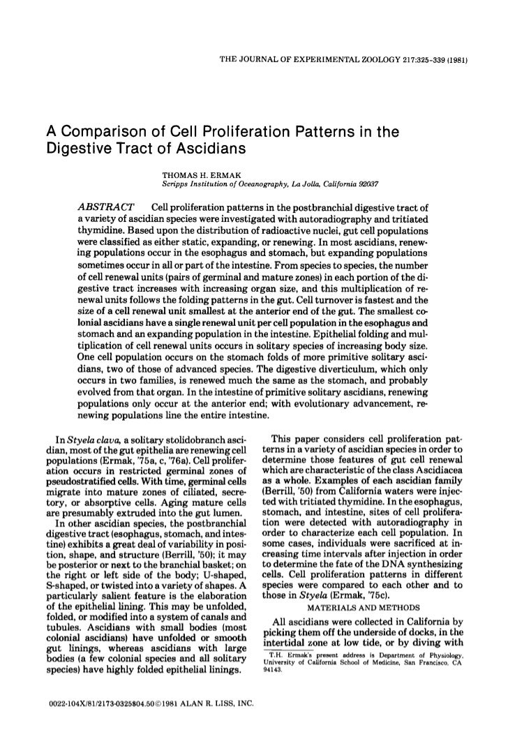 THE JOURNAL O F EXPERIMENTAL ZOOLOGY 217:325-339 (1981)A Comparison of Cell Proliferation Patterns in theDigestive Tract o...