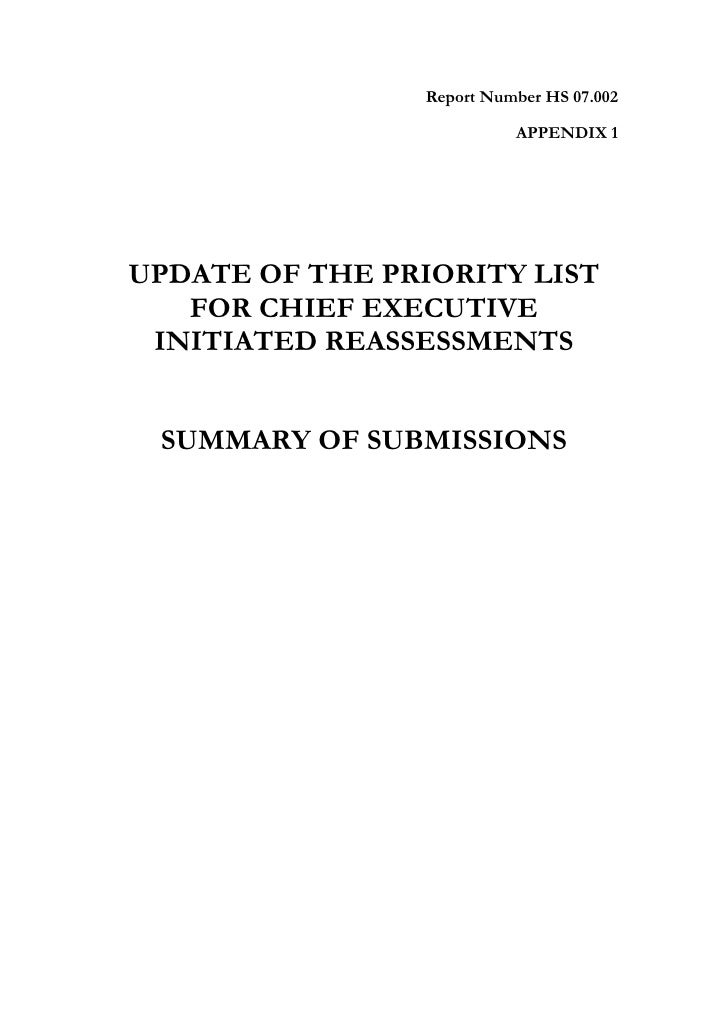 Report Number HS 07.002                             APPENDIX 1     UPDATE OF THE PRIORITY LIST    FOR CHIEF EXECUTIVE  INI...