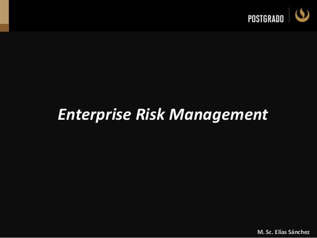 M. Sc. Elías Sánchez Enterprise Risk Management