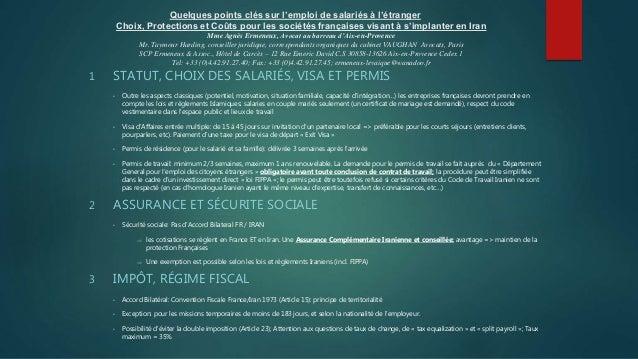 Quelques points clés sur l'emploi de salariés à l'étranger Choix, Protections et Coûts pour les sociétés françaises visant...