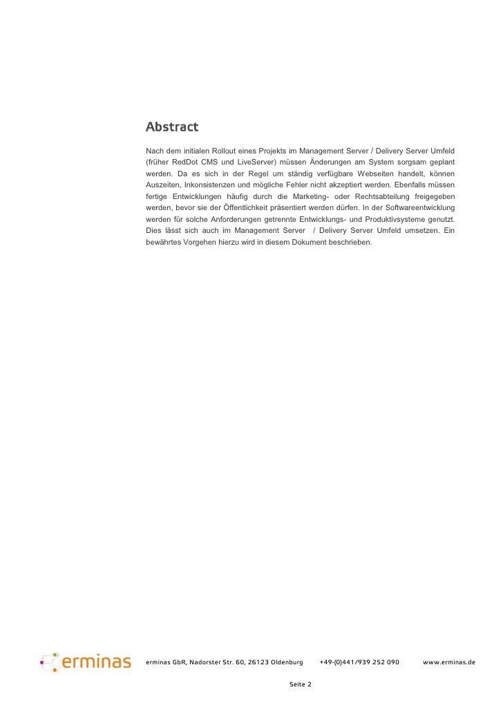 Entwicklungsumgebung  für den Open Text Management Server (früher RedDot CMS) Slide 2
