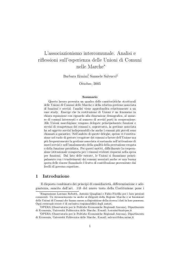 L'associazionismo intercomunale. Analisi e    riflessioni sull'esperienza delle Unioni di Comuni                       nell...