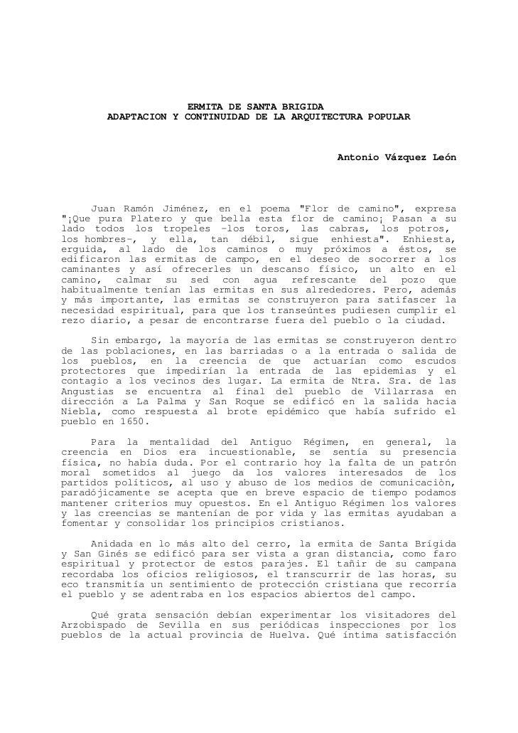 ERMITA DE SANTA BRIGIDA       ADAPTACION Y CONTINUIDAD DE LA ARQUITECTURA POPULAR                                         ...
