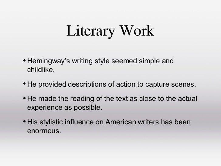 thesis about hemingway By tom stoppard when joseph conrad died, ernest hemingway, by way of an obituary notice, wrote a little piece in the transatlantic review, in.