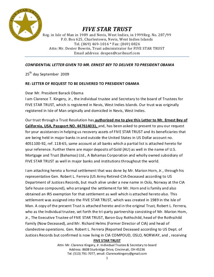 Five Star Trust Letter to President Obama ...