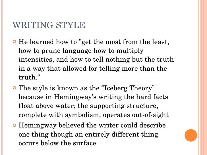 the unique writing style of ernest hemingway Compare william faulkner and ernest hemingway style of writing compare and contrast: hemingway v faulkner each writer has its very own and unique style when writing a story.