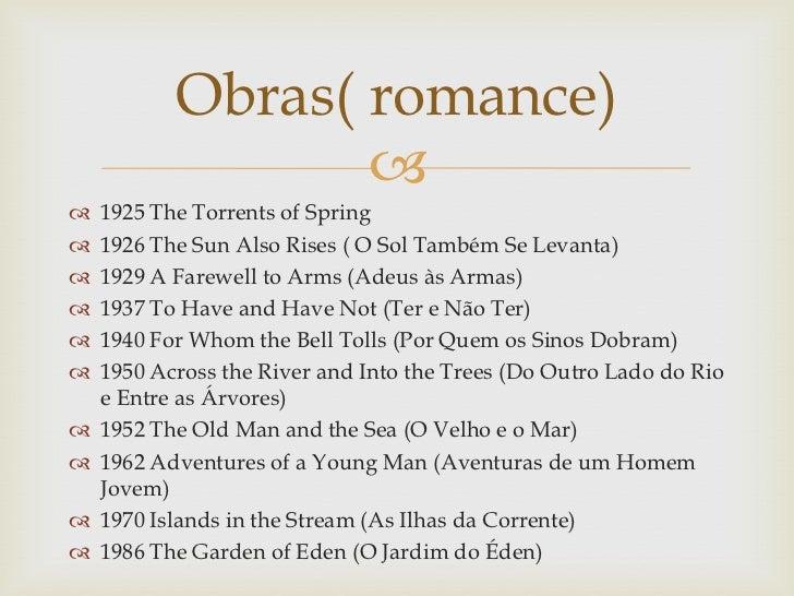 Obras( romance)                     1925 The Torrents of Spring   1926 The Sun Also Rises ( O Sol Também Se Levanta)  ...