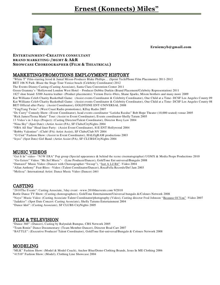 ernest konnects miles entertainment resume pdf