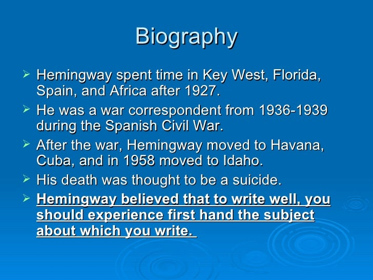 a fascination of wars the life and works of ernest hemingway The impacts of wars on earnest hemingway's works ernest hemingway lived in a time full of throughout hemingway's life, the experiences from various wars and.
