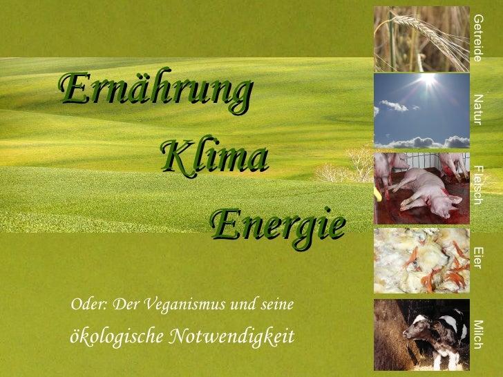 Ernährung Klima   Energie Oder: Der Veganismus und seine ökologische Notwendigkeit Getreide Eier Milch Fleisch Natur
