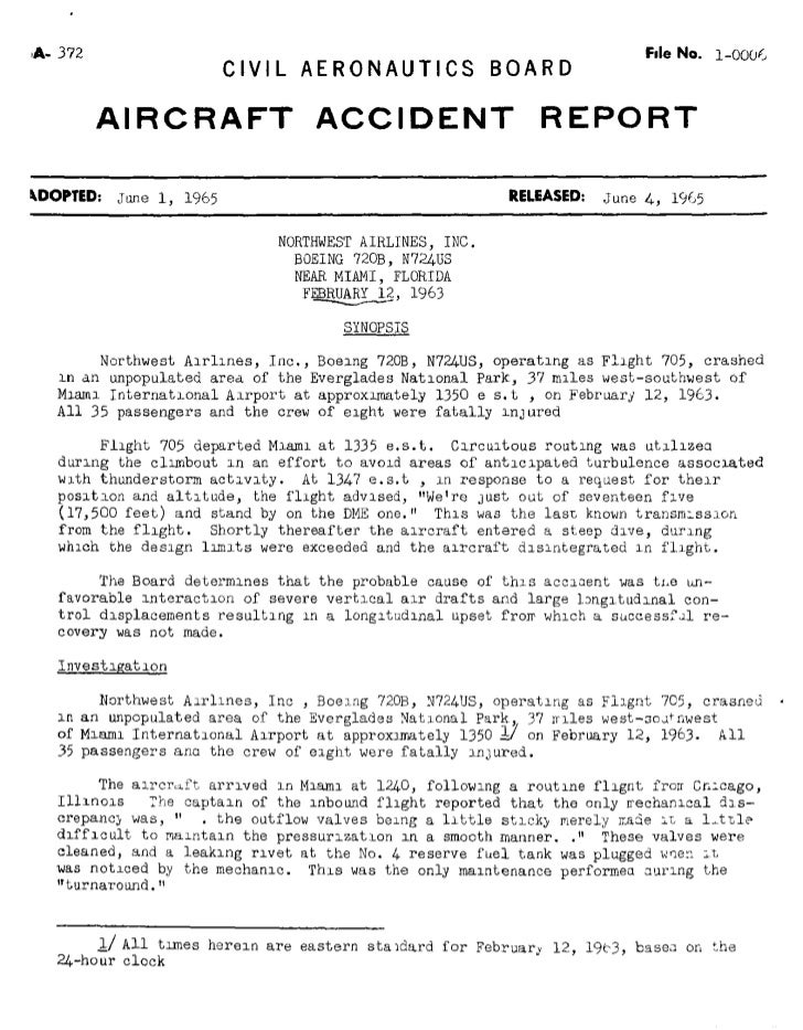 Northwest Orient Flight 705 CAB Aircraft Accident Report (AAR): A Cautionary Tale For BEA Investigators Regarding Air Fran...