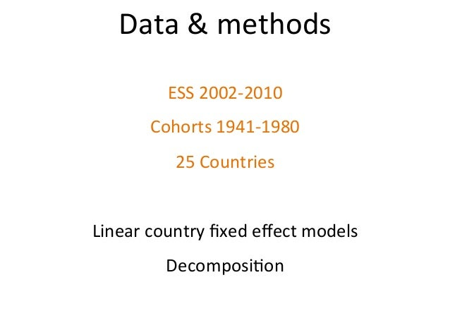 Data&methods ESS2002-2010 Cohorts1941-1980 25Countries  Linearcountryfixedeffectmodels Decomposi$on