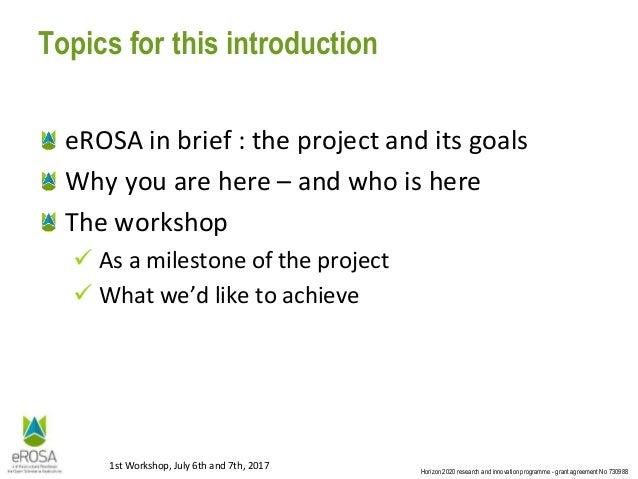 eROSA Stakeholder WS1: Introduction Slide 2