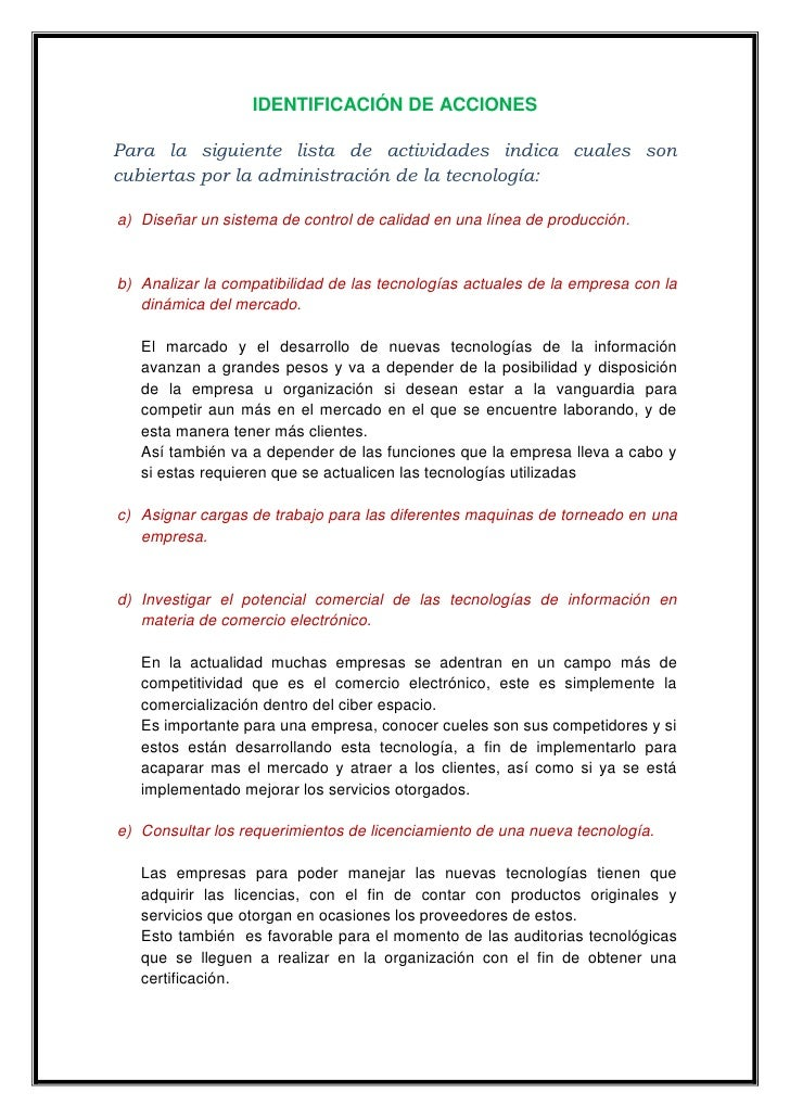 IDENTIFICACIÓN DE ACCIONES<br />Para la siguiente lista de actividades indica cuales son cubiertas por la administración d...