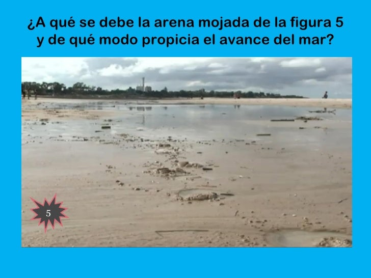 ¿A qué se debe la arena mojada de la figura 5 y de qué modo propicia el avance del mar?  5
