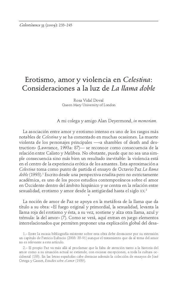 Celestinesca 33 (2009): 233-245  Erotismo, amor y violencia en Celestina: Consideraciones a la luz de La llama doble Rosa ...
