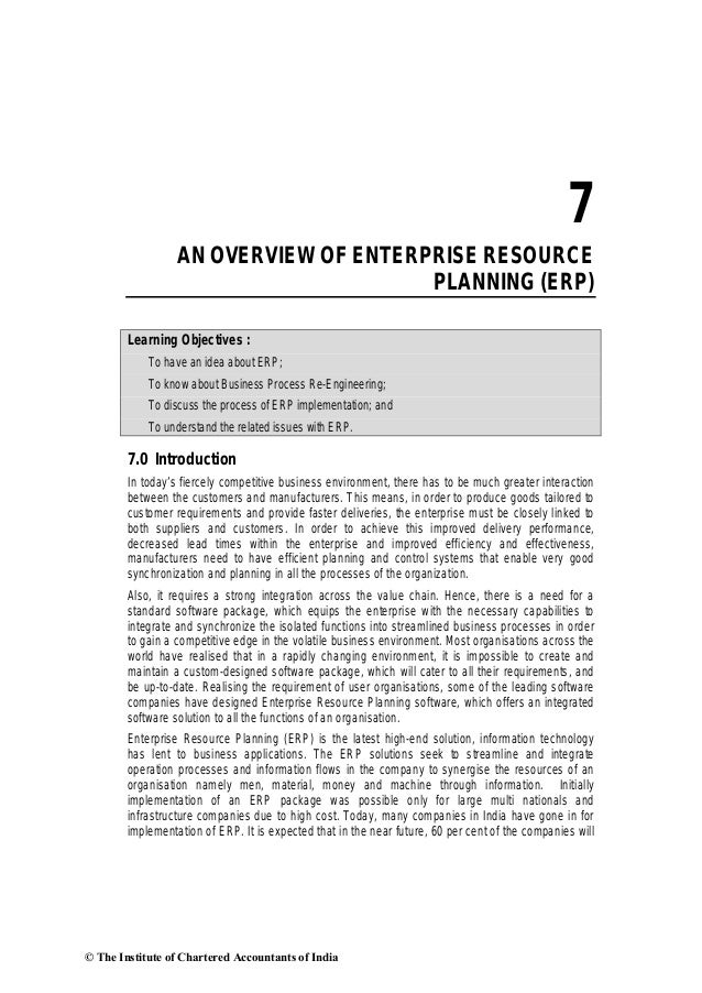 7                  AN OVERVIEW OF ENTERPRISE RESOURCE                                       PLANNING (ERP)        Learning...