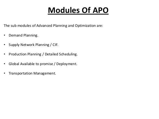 Advanced Planning And Optimization Slide 3