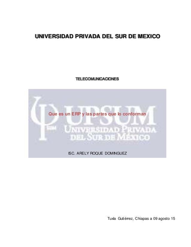 UNIVERSIDAD PRIVADA DEL SUR DE MEXICO TELECOMUNICACIONES Que es un ERP y las partes que lo conforman ISC. ARELY ROQUE DOMI...