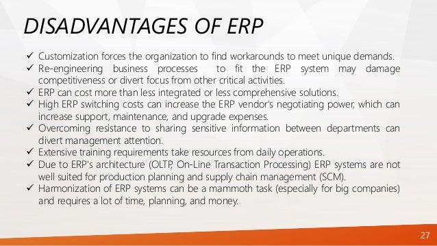 limitations of erp Implementation of erp systems: accounting and auditing implications  enterprise resource planning  which is another limitation of r/3 .