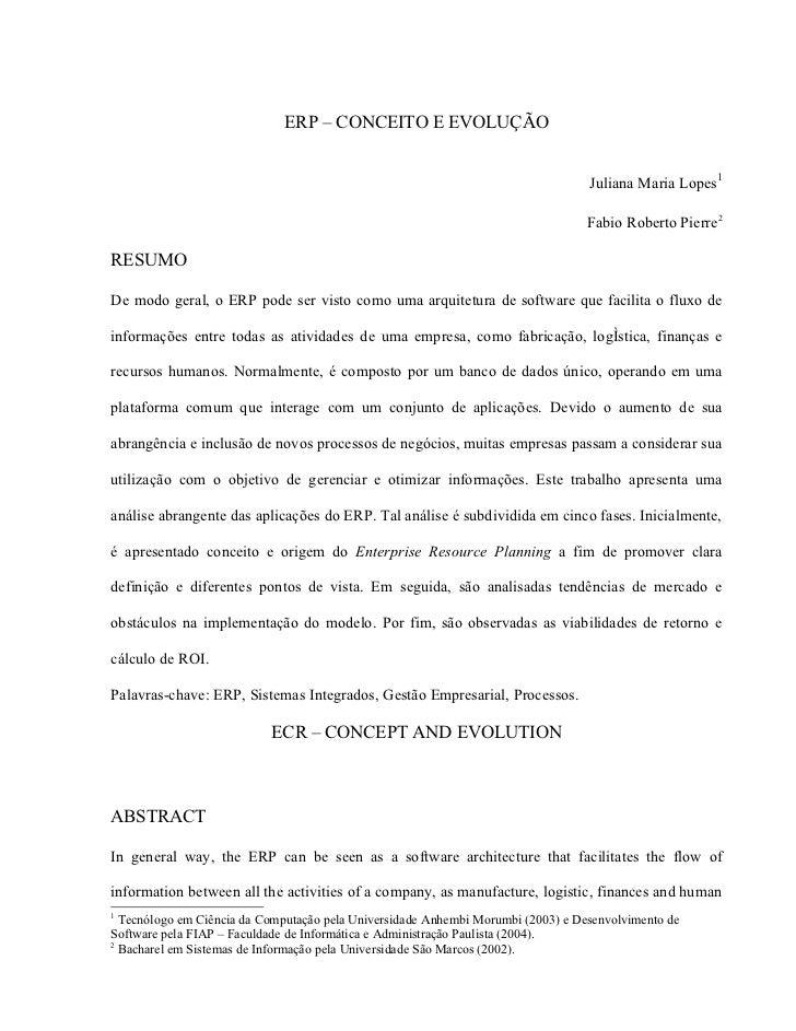 ERP – CONCEITO E EVOLUÇÃO                                                                                     Juliana Mari...