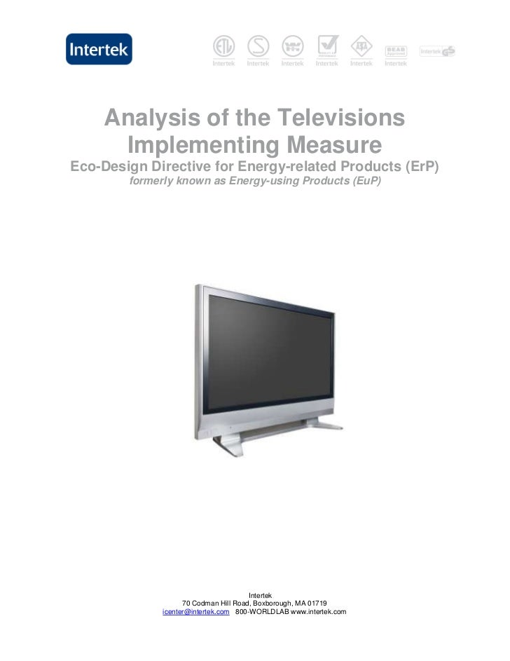 Analysis of the Televisions     Implementing MeasureEco-Design Directive for Energy-related Products (ErP)        formerly...
