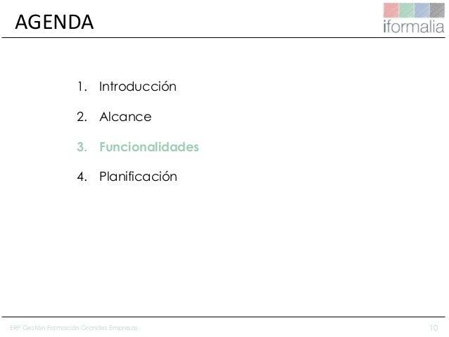10 AGENDA 1. Introducción 2. Alcance 3. Funcionalidades 4. Planificación ERP Gestión Formación Grandes Empresas