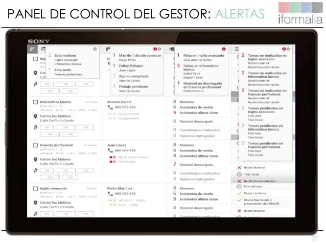 27 PANEL DE CONTROL DEL GESTOR: ALERTAS