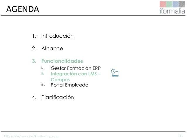 38 AGENDA 1. Introducción 2. Alcance 3. Funcionalidades i. Gestor Formación ERP ii. Integración con LMS – Campus iii. Port...