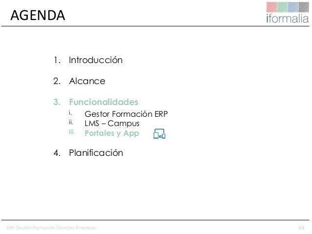 44 AGENDA 1. Introducción 2. Alcance 3. Funcionalidades i. Gestor Formación ERP ii. LMS – Campus iii. Portales y App 4. Pl...