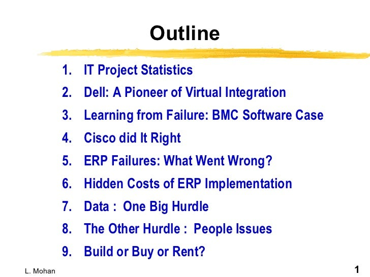 Outline <ul><li>IT Project Statistics  </li></ul><ul><li>Dell: A Pioneer of Virtual Integration </li></ul><ul><li>Learning...