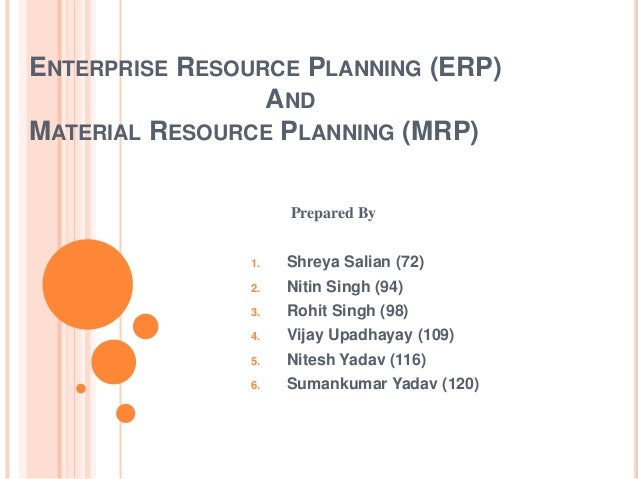 Material requirements planning & erp ppt @ bec doms.