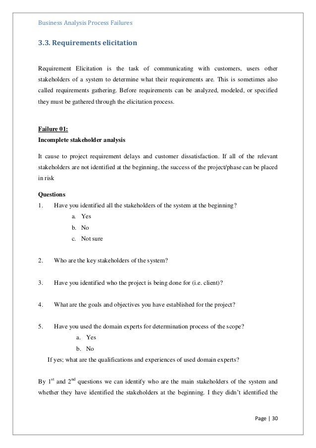 A Questionnaire for Identify Failures in Business Analysis ...