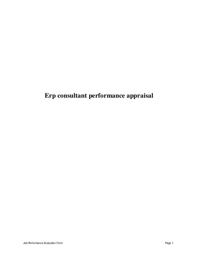 Job Performance Evaluation Form Page 1 Erp consultant performance appraisal
