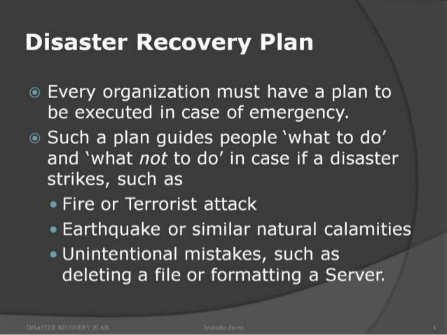 importance of disaster recovery plan pdf